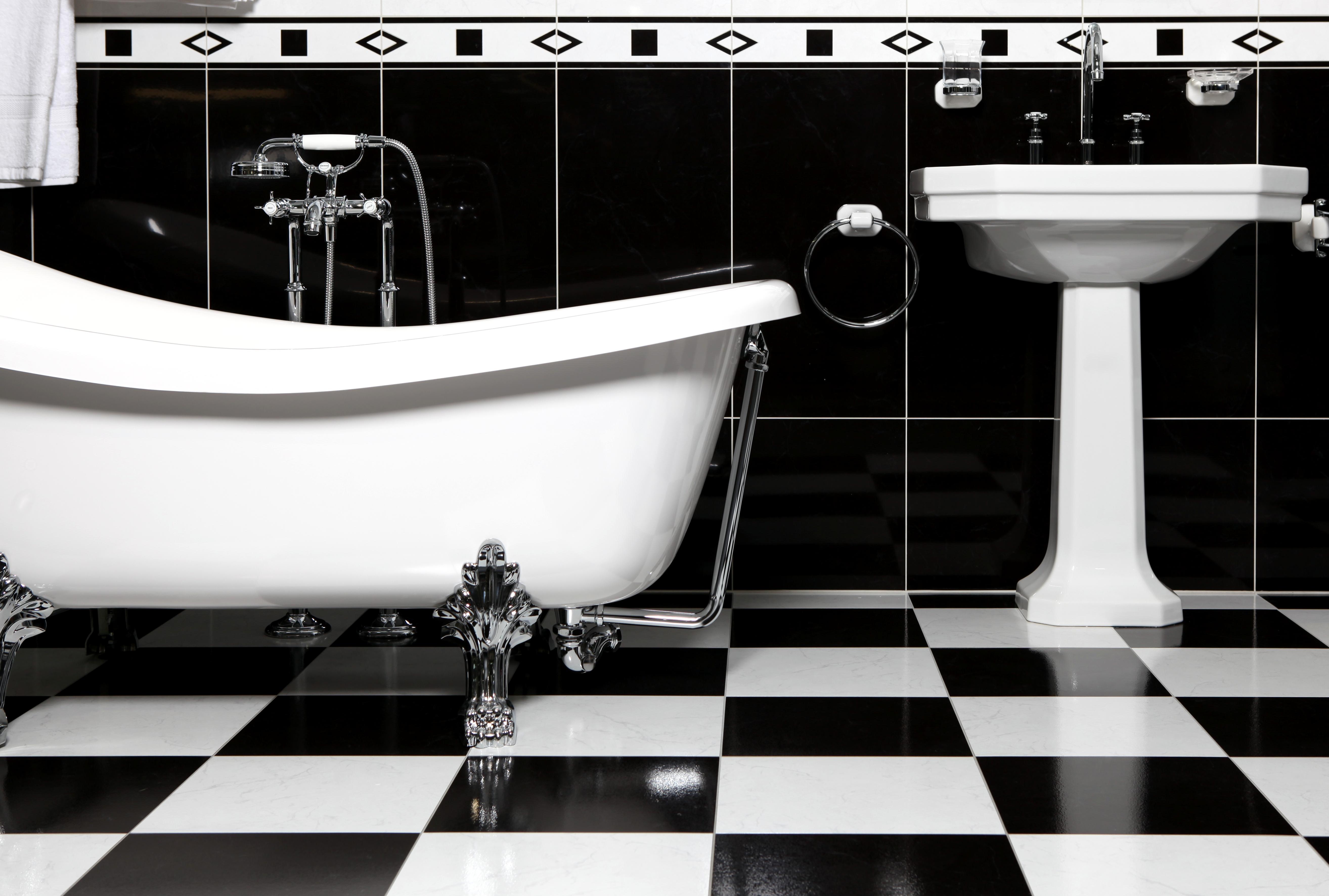 Плитка для ванной комнаты черно-белая дизайн
